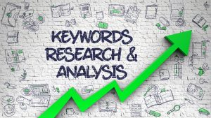 Keywords Research And Analysis - Modern Style Illustration with Doodle Elements. White Brickwall with Keywords Research And Analysis Inscription and Green Arrow. Increase Concept.